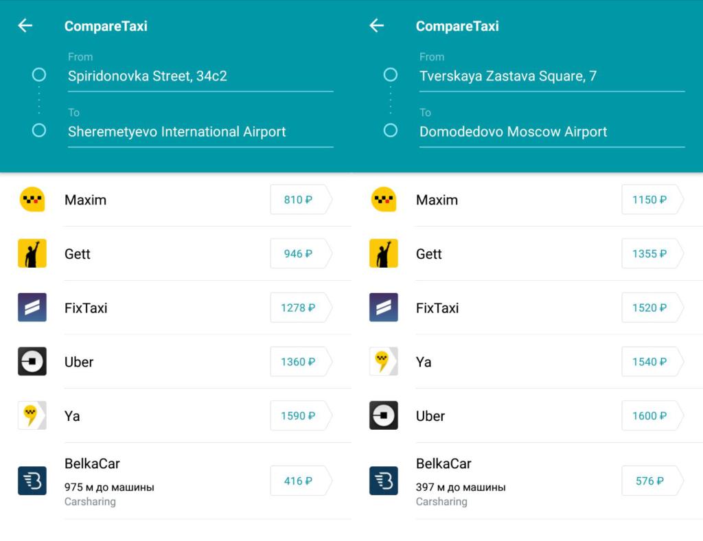 Сравнение стоимости такси по нескольким приложениям